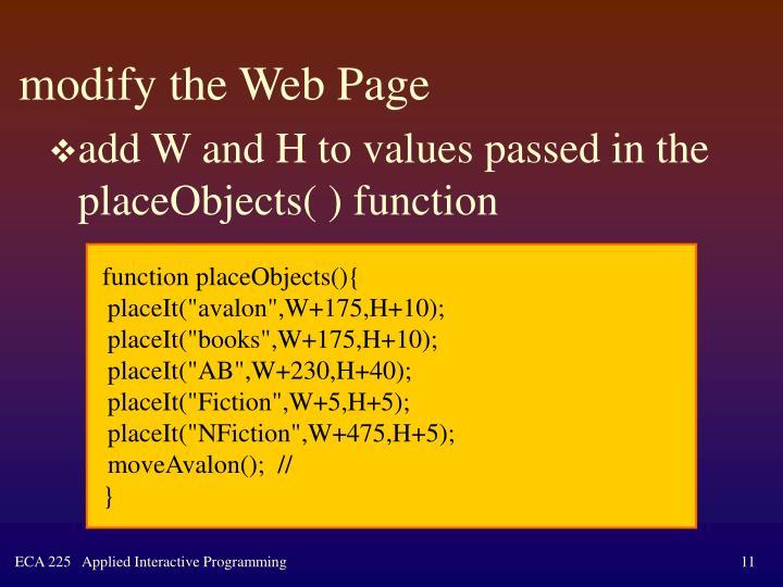 modify the Web Page