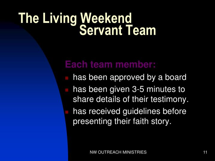 The Living Weekend             Servant Team