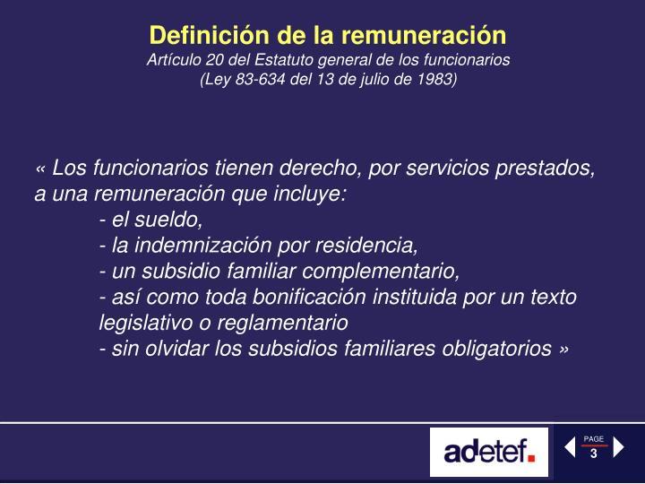 Definición de la remuneración