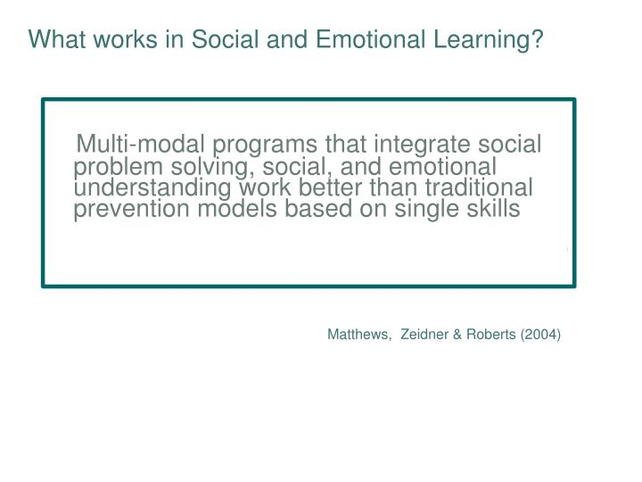 What works in Social and Emotional Learning?