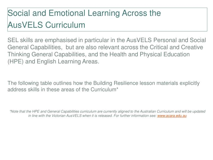 Social and Emotional Learning Across the
