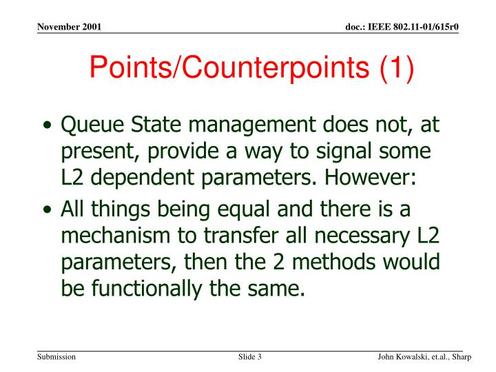 Points counterpoints 1