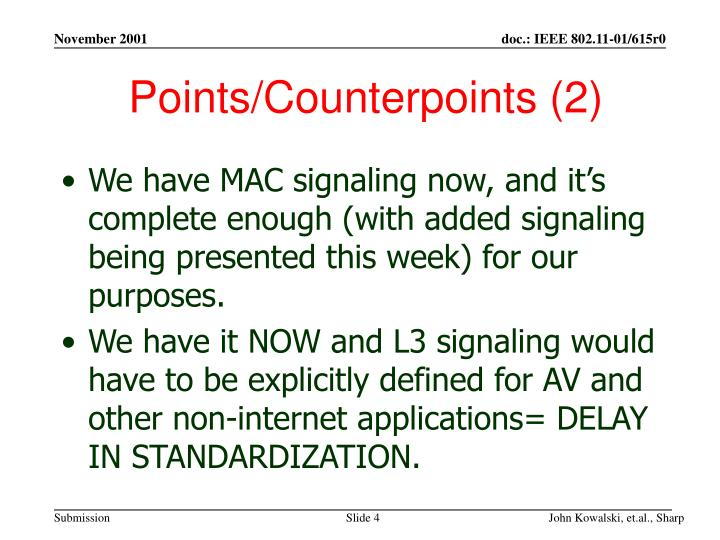 Points/Counterpoints (2)