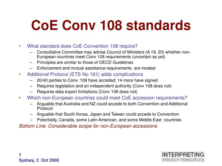 CoE Conv 108 standards