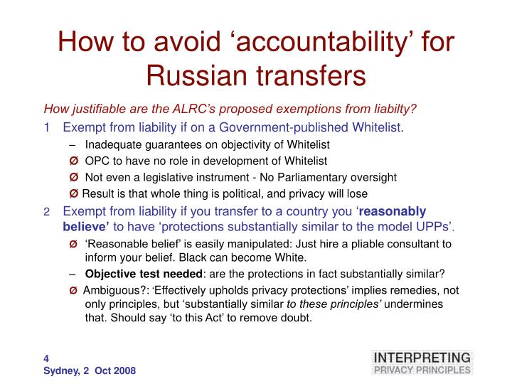 How to avoid 'accountability' for Russian transfers