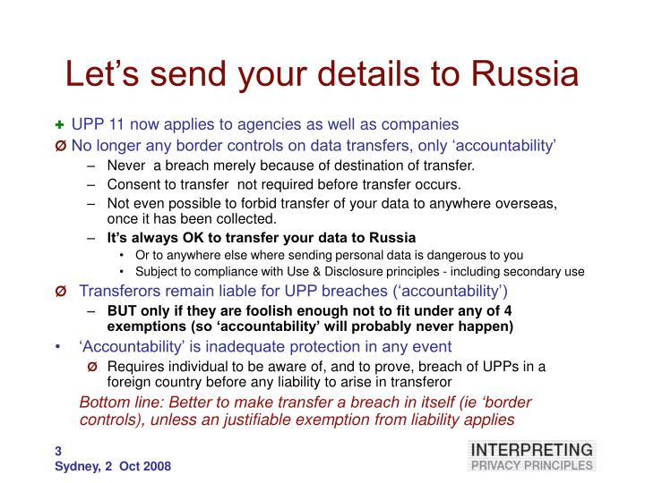 Let's send your details to Russia