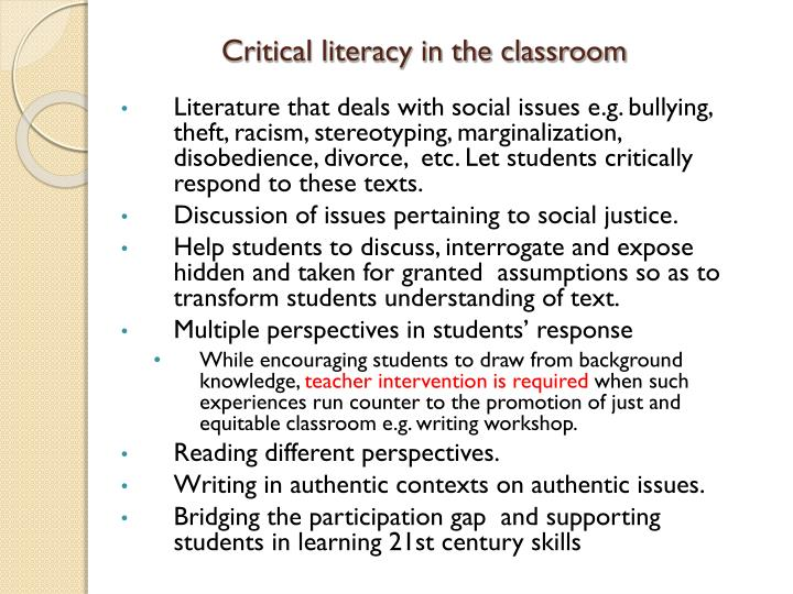 Critical literacy in the classroom