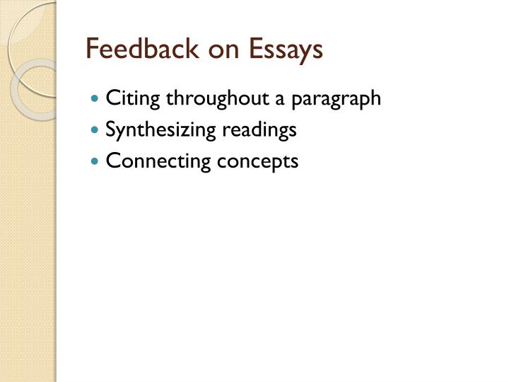 Feedback on Essays