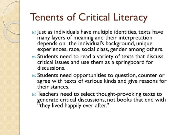 Tenents of Critical Literacy