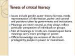 tenets of critical literacy