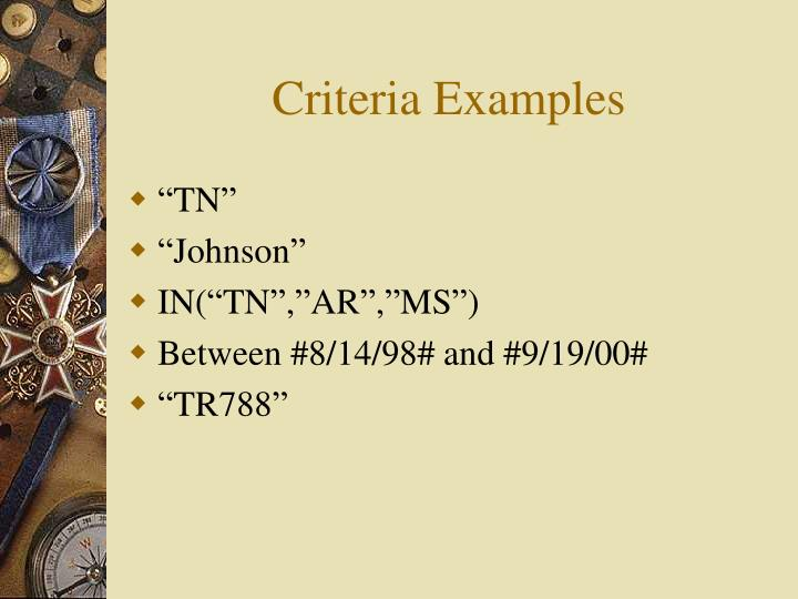 Criteria Examples