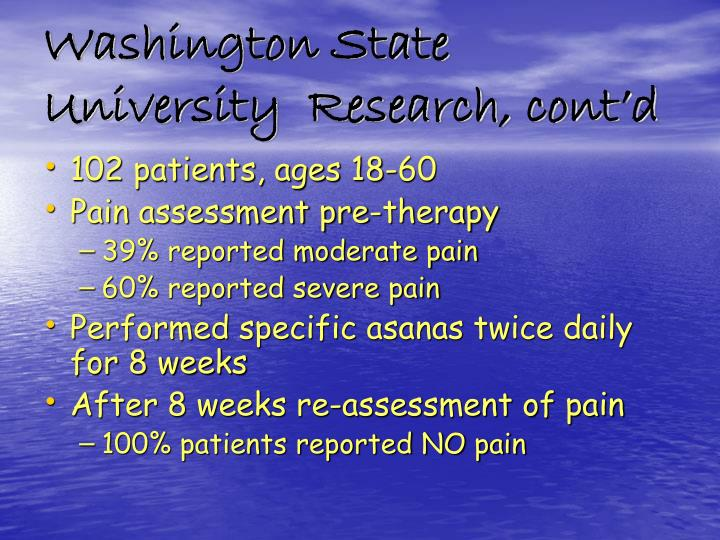 Washington State University  Research, cont'd