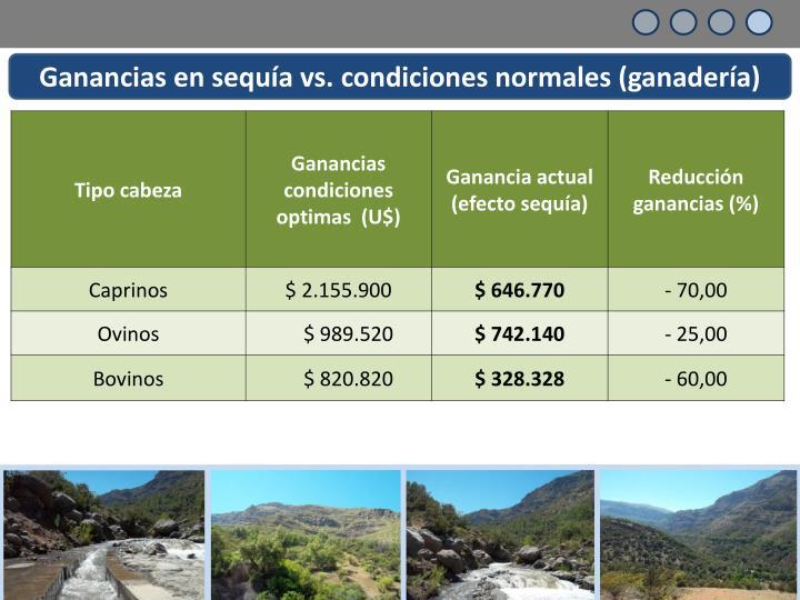 Ganancias en sequía vs. condiciones normales (ganadería)