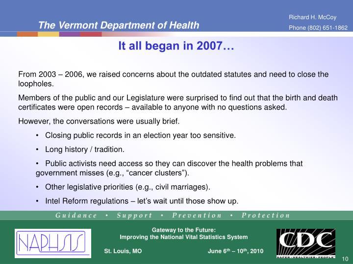 It all began in 2007…