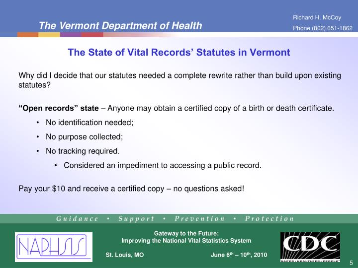 The State of Vital Records' Statutes in Vermont
