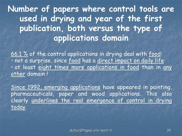 Number of papers where control tools are used in drying and year of the first publication, both versus the type of applications domain