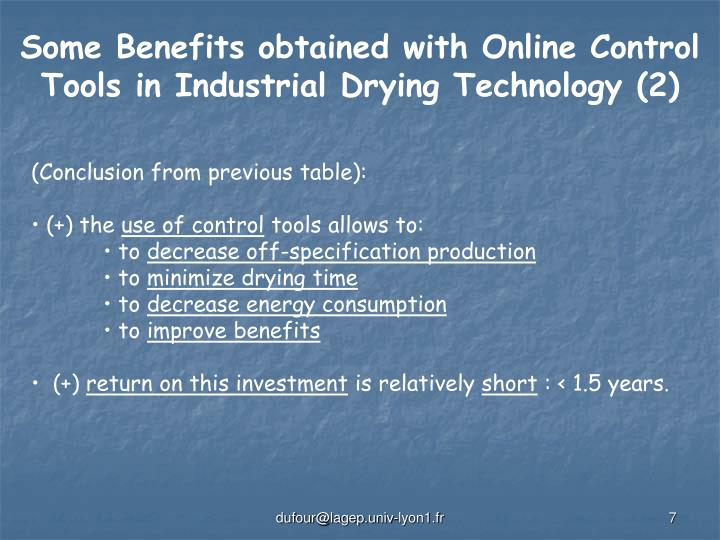 Some Benefits obtained with Online Control Tools in Industrial Drying Technology (2)