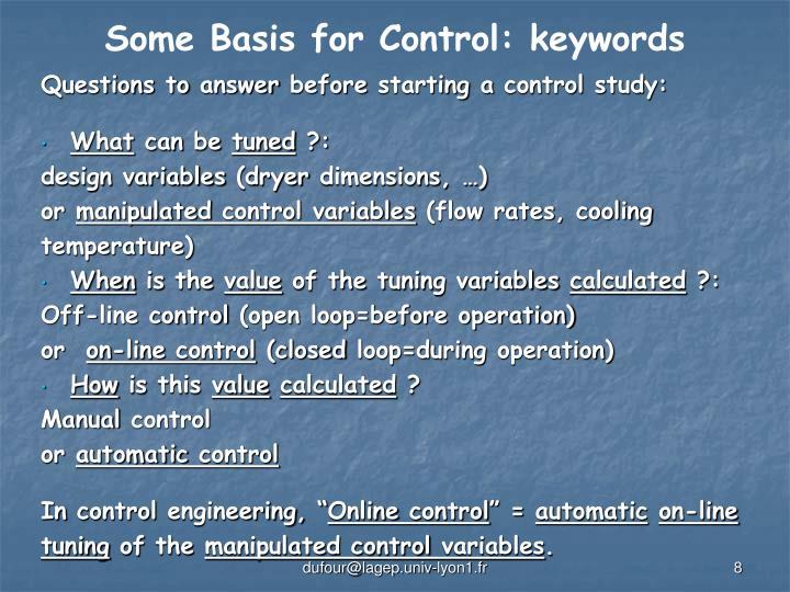 Some Basis for Control: keywords