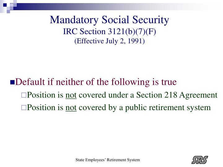Mandatory Social Security