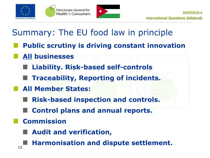Summary: The EU food law in principle