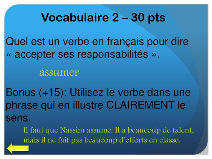 Vocabulaire 2 – 30 pts