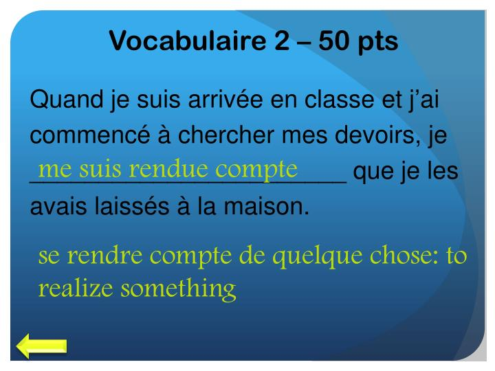 Vocabulaire 2 – 50 pts