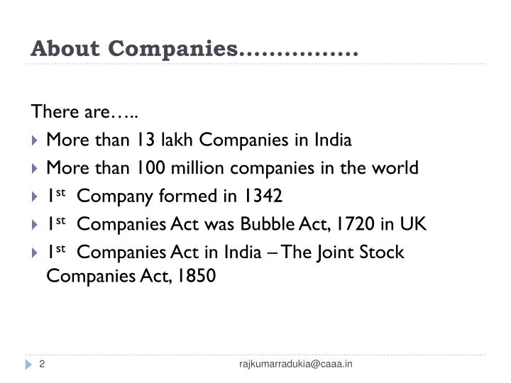 About Companies…………….