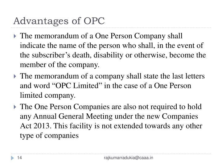 Advantages of OPC