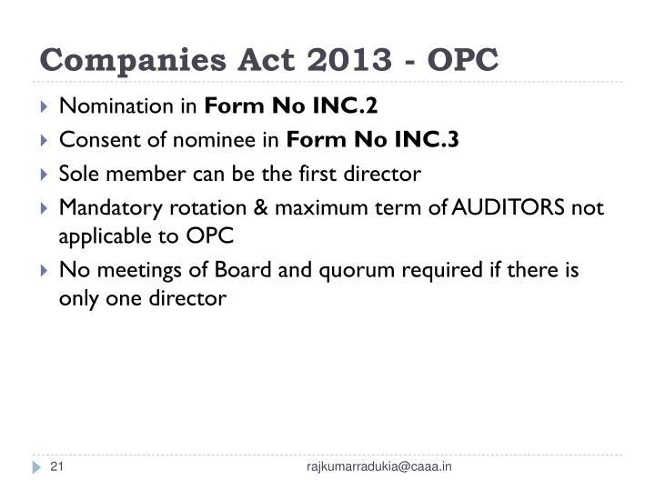 Companies Act 2013 - OPC