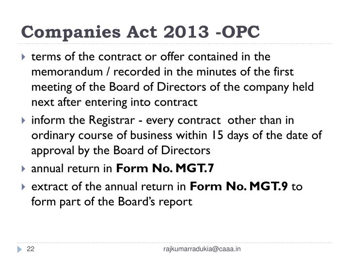 Companies Act 2013 -OPC