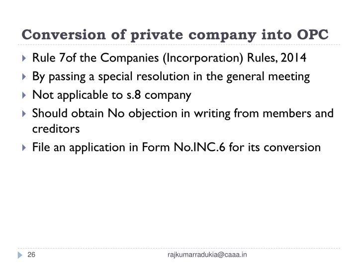 Conversion of private company into OPC