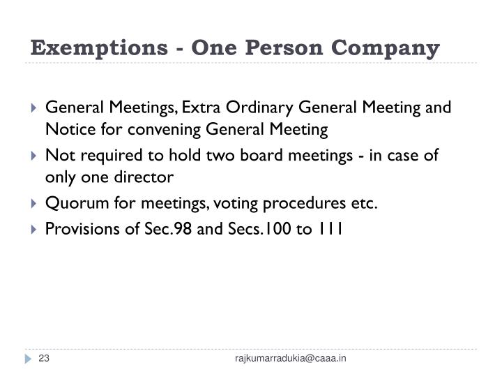 Exemptions - One Person Company