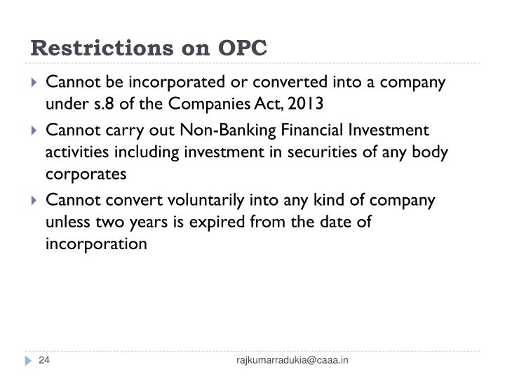 Restrictions on OPC