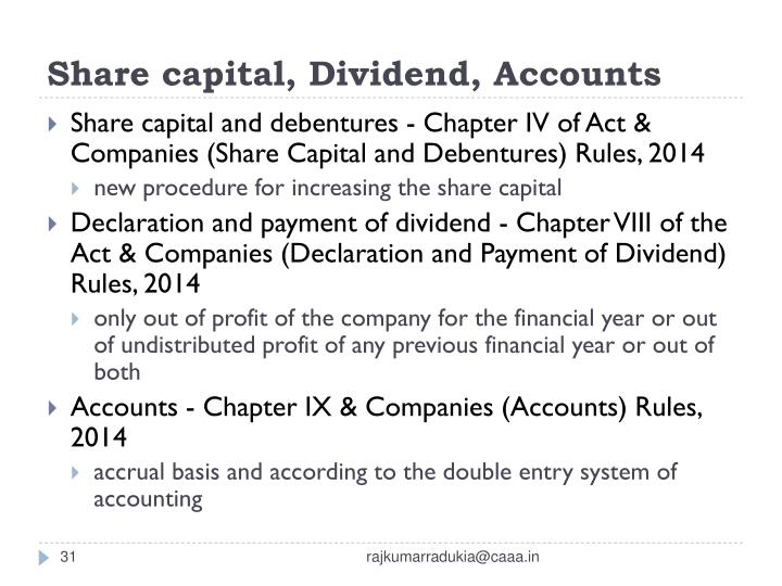 Share capital, Dividend, Accounts