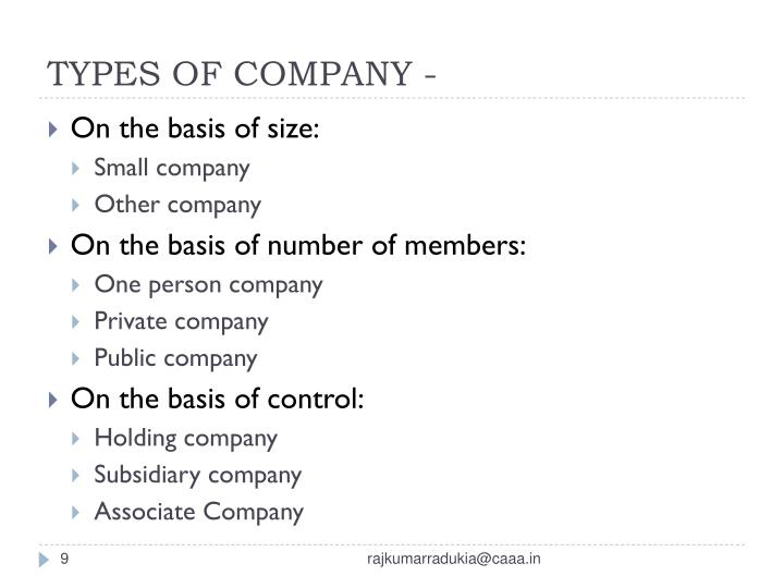 TYPES OF COMPANY -