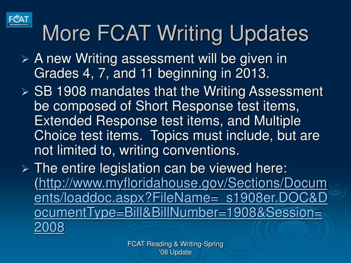 More FCAT Writing Updates