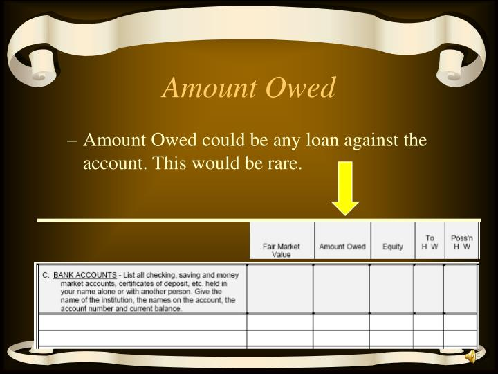 Amount Owed