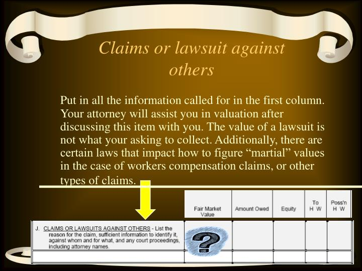 Claims or lawsuit against others
