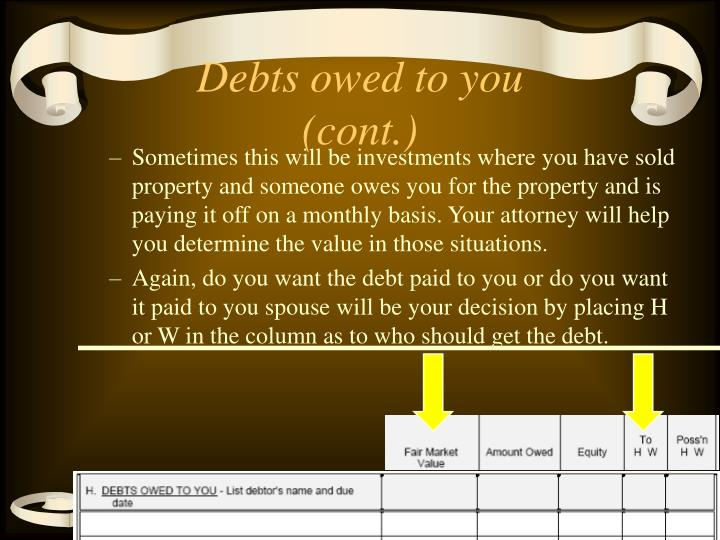 Debts owed to you (cont.)