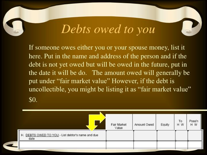 Debts owed to you