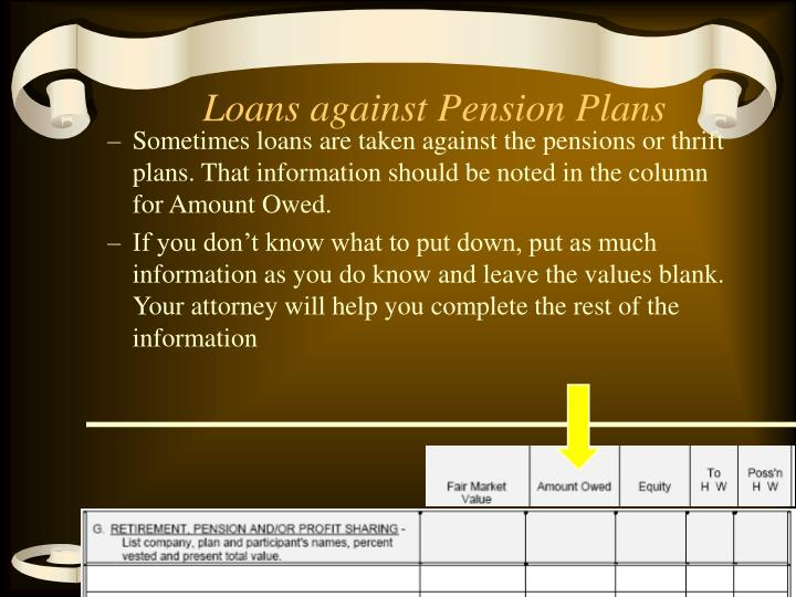 Loans against Pension Plans
