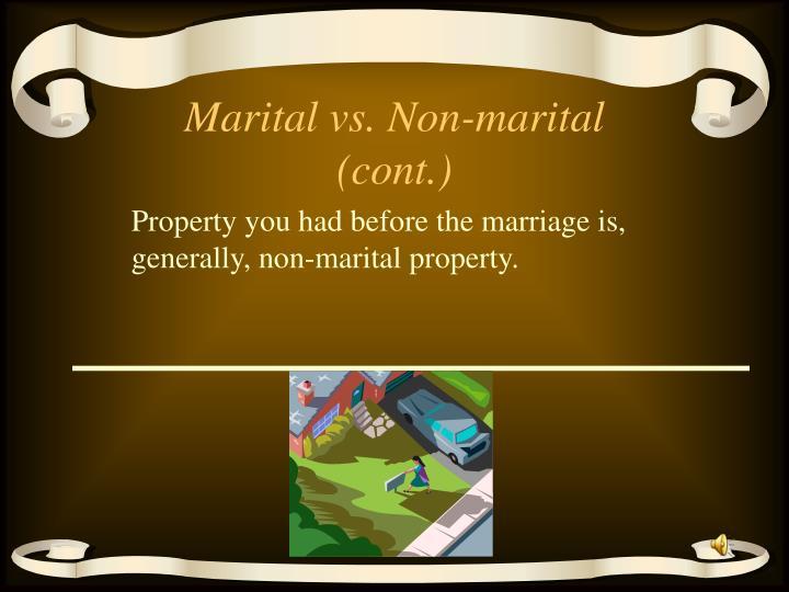 Marital vs. Non-marital (cont.)