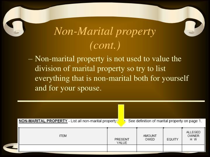 Non-Marital property (cont.)