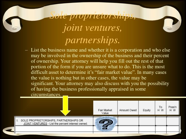 Sole proprietorships, joint ventures, partnerships.