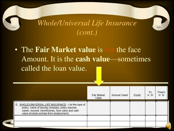 Whole/Universal Life Insurance (cont.)