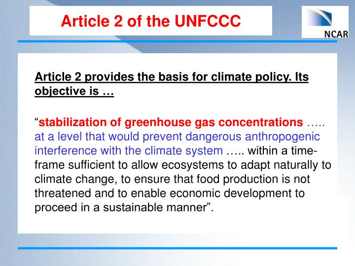 Article 2 of the UNFCCC