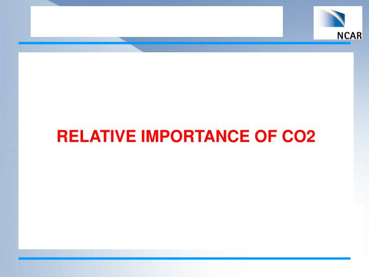 RELATIVE IMPORTANCE OF CO2