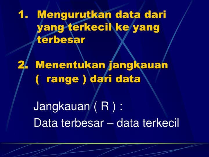 Mengurutkan data dari    yang terkecil ke yang