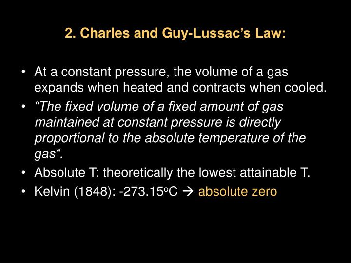 2. Charles and Guy-Lussac's Law: