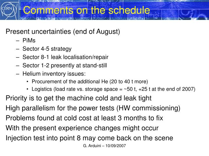 Comments on the schedule